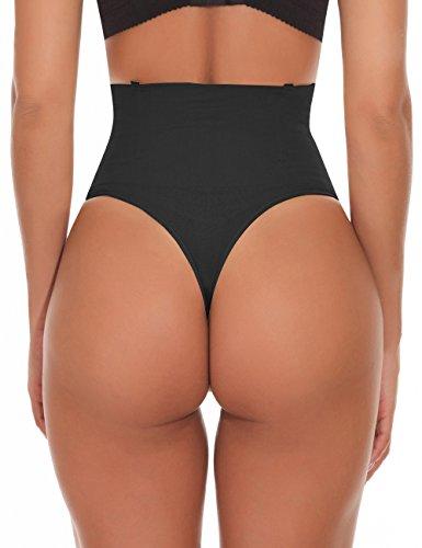 NINGMI Damen Mieder String Tanga Mittlere Taille Miederslip Figurformend Miederhose Shapewear Taillenmieder Body Shaper - 3