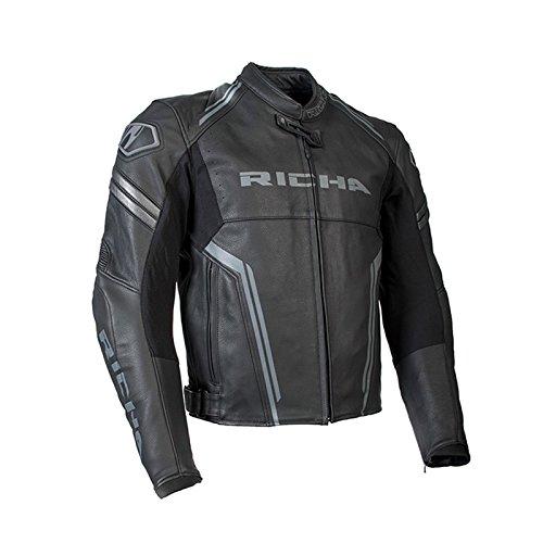 Richa Monza da uomo moto Race Track in pelle di alta qualità, colore: Nero/Grigio