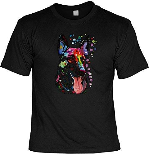 Einzigartiges T-Shirt mit ungewöhnlichem Neonmotiv: Deutscher Schäferhund (Kleidung Deutscher Schäferhund)
