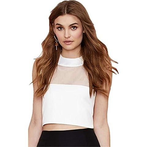 Sexy Senza Maniche Inserto in Rete Collo Alto T-Shirt Maglietta Tee Crop Top Corti Corto Cima Top Bianco