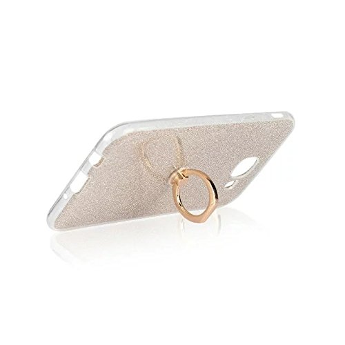 Luxus Bling Sparkle Style Case, Soft TPU [Silikon] Flexible Glitter Rückentasche mit Fingerring Stand [Anti Scratch] [Shockproof] für Samsung Galaxy A810 (A8 2016) ( Color : White ) Gold