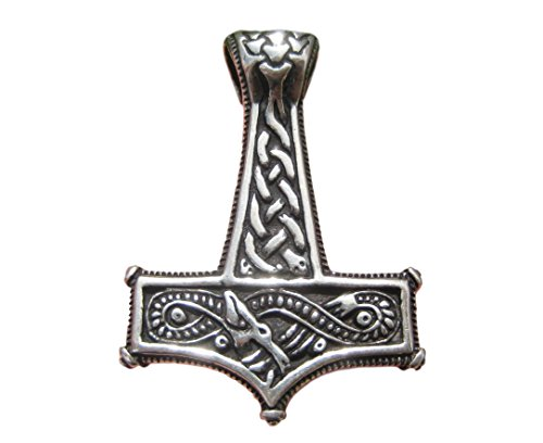 Himalayan Treasures Colgante de amuleto de plata de ley 925, diseño de dragón de Mjolnir Vikingo Mjolhner A12