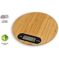 PRITECH - Balance numérique en Bambou résistant pour Cuisine, Poids Maximum 5 kg / 11 LB et Haute précision, arrêt Automatique et Fonction Tare Rond