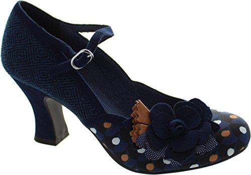 LADIES RUBY SHOO DEE NAVY SPOTS TWEED VEGAN VINTAGE INSPIRED RETRO SHOES-UK 8 (EU 41) - 3