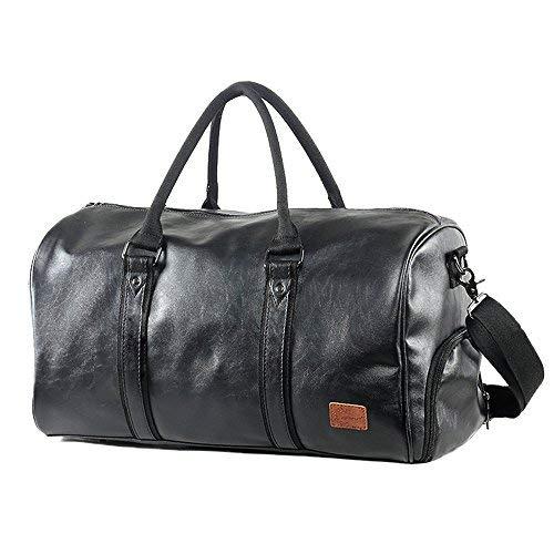 Mioy Großräumige Vintage Leder Herren Handgepäck Sporttasche Overnight Duffel Bag Damen Reisetasche für Wochenend Urlaub (Schwarz) -