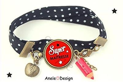 Bracelet liberty Cadeau Super maîtresse école étoiles rouge noir blanc école perles pois pomme crayon rouge