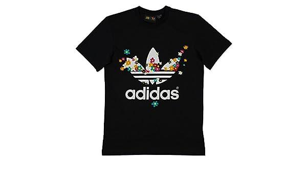 8d0d38b89394 adidas Originals Mens Pharrell Williams Flower T-Shirt in Black-White: adidas  Originals: Amazon.co.uk: Clothing