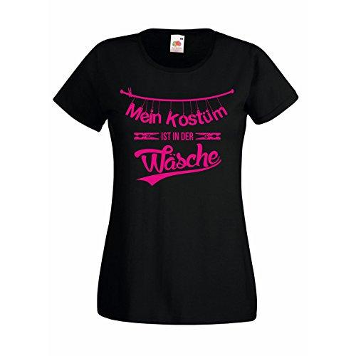 Damen T-Shirt Mein Kostüm ist in der Wäsche Karneval Halloween Kostüm, M, (Für Ideen Für Kostüm Arbeit Halloween Die)