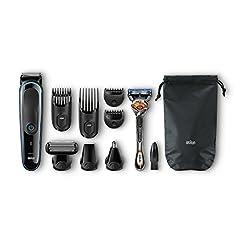 Idea Regalo - Braun MGK3080 MultiGrooming Kit Rifinitore di Precisione Regolabarba 9 in 1 per lo Styling di Barba Corpo e Capelli, Nero/Blu