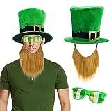 Howaf San Patrizio Accessori Set Festa di San Patrizio Trifoglio Cappello con Barba, Occhiali, Verde, Taglia Unica per Uomo Adulti San Patrizio Costume Decorazioni