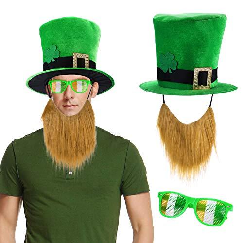 Day Kostüm Zubehör Set, st. Patrick's Day Hut mit angenähtem Bart, Brille für st. Patrick's Day deko ()
