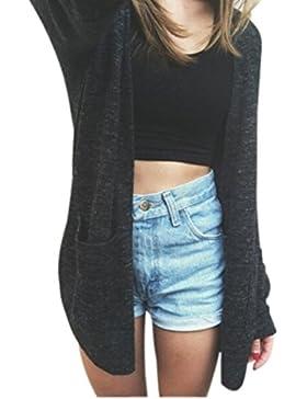 OverDose Las mujeres de manga larga Cardigan de punto flojo del suéter Outwear el suéter capa de la chaqueta