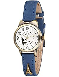 Fq-234 Cute Girl's Women's Analog Dress Wrist Watches,Ballet Dancer Series,Blue Soft Leather Strap