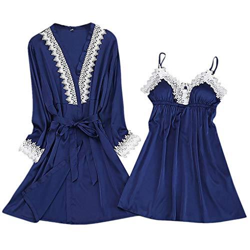 essous Die Seide Spitze Robe Kleid Puppe Nachthemd Nachtwäsche Kimono Einstellen Sexy Sling Nachthemd Nachtwäsche Seide Spitze Kleid Babydoll Nachthemd(Blau-2,X-Large) ()