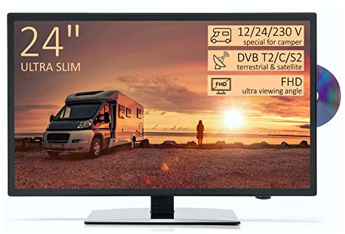 TV Led Full HD 24″ per Camper ULTRA SLIM design – DVD/Usb/Ci+/Hdmi – 12/24/220 V – DVB-T2/S2/C – Compatibile CAM Tivusat – Attacco Vesa
