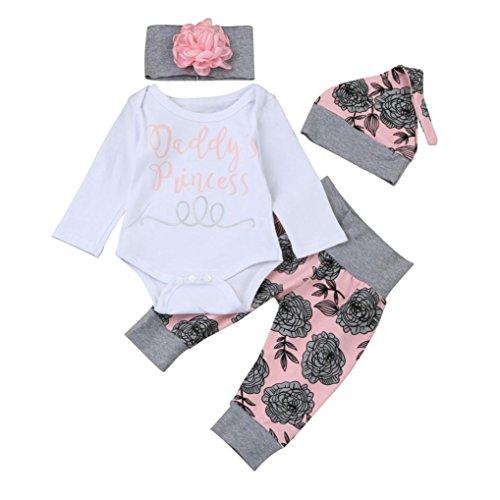 (FNKDOR Baby Neugeborenen Mädchen Brief Strampler Tops Floral Hosen Mützen Stirnbänder Kleidung Set (03 Monate, Weiß))