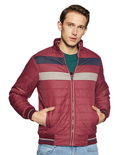 Qube by Fort Collins Men's Bomber Jacket (1220_XXL_Maroon)