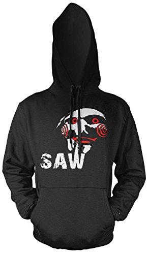 Uglyshirt89 Jigsaw Männer und Herren Kapuzenpullover | Halloween SAW Horror Geschenk Kostüm | M3 (S, Schwarz) (Gute Einfache Halloween Kostüme College)
