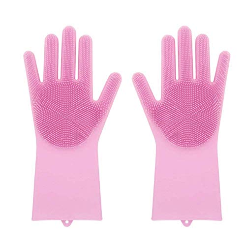 Wheel Cleaner Refill (KOKOUK Magic Reusable Silicone Gloves Cleaning Brush Scrubber Gloves Heat Resistant for Cleaning, Household, Dish Washing, Washing The Car, 1 Pair (Pink))