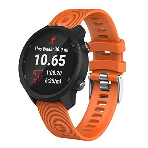 Momola Silikon Uhrenarmband für Garmin Forerunner 245/245M,10 Farben Sport Armband mit Metallschließe 210MM (Orange) -