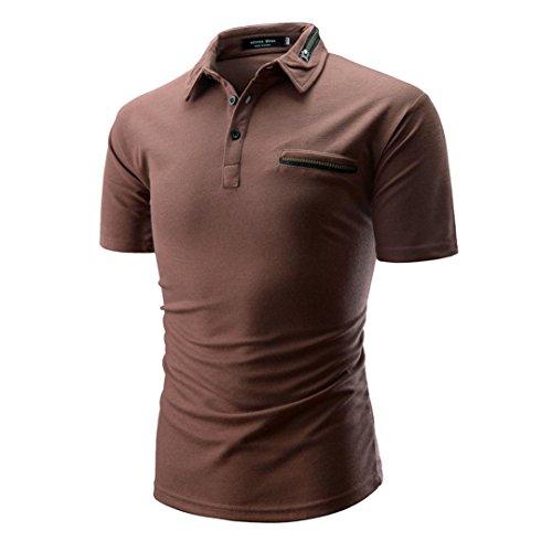 Sommer Casual Crew Neck Basic Einfarbige Brusttasche Kurzarm Baumwollmischung T-Shirt mit Kragen Größen m-XXL (L, Kaffee)