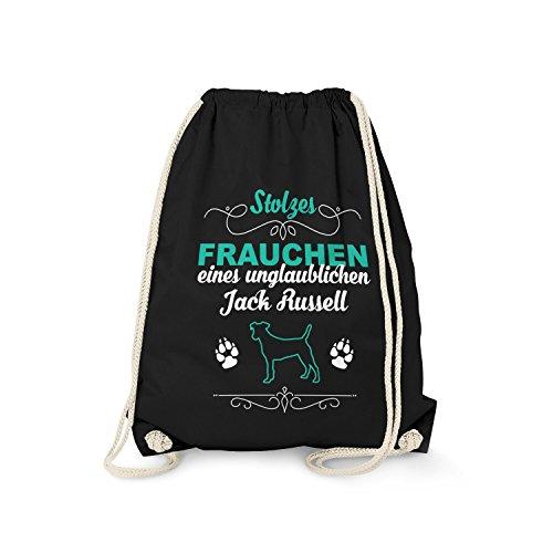 tel - Stolzes Frauchen eines unglaublichen Jack Russell | Fun Rucksack mit Spruch als Geschenk Idee für Rasse Hunde Besitzer, Farbe:schwarz (Jack-jack-unglaublich)