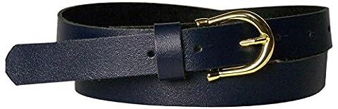 FRONHOFER Fine ceinture pour femme de 2,5 cm avec une boucle en fer à cheval dorée, ceinture en cuir bon marché, 17875, Taille:Taille 85 cm, Couleur:Bleu marine