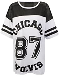 MyMixTrendz-oversize pour femme 'chicago wolves 87'netted varsity t-shirt in uK-taille s/m m/l - 100%  coton lavable séparément made in uK