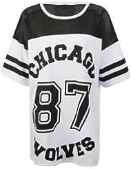 """MyMixTrendz - «Wolves de Chicago 87"""" Femmes surdimensionné Netted T-shirt de fac"""