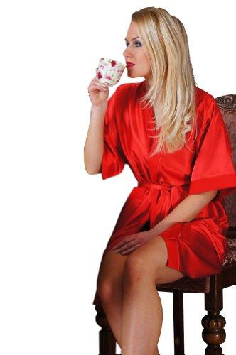 Preisvergleich Produktbild Ninex Damen Nachtwäsche Kimono-Style seidig glatt in Satin-Optik in S - 7XL 36-52 Rot 50