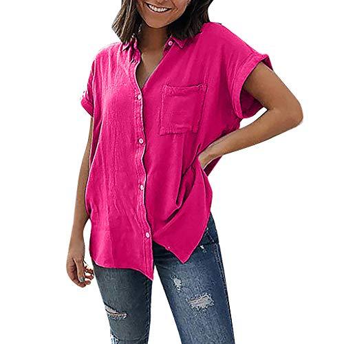 kolila Classic Revers Shirt Sommer Damen Plus Size Einfarbig Kurzarm T-Shirts Oberteile Bluse Tops mit Tasche(Hot ()