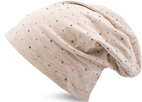 f9c05f4cf8fa28 Jersey Baumwolle elastisches Long Slouch Beanie Unisex Herren Damen mit  Strass Stern.