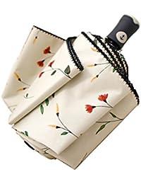 Paraguas Plegable automático Flor de Rosa Cereza: Dale una Ola de Citas Dulces