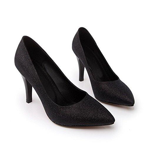 VogueZone009 Femme Fermeture D'Orteil Pointu Tire Matière Mélangee Stylet Chaussures Légeres Noir
