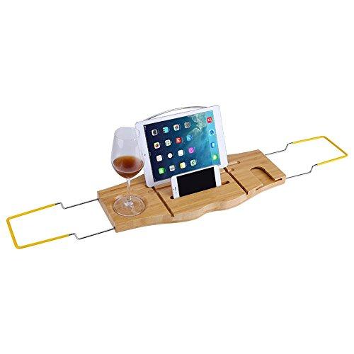 Cocoarm Bambus Badewannenablage Badewannenbrett Verstellbare Badewannen Ablagen Regal mit Getränkehalter Buchstütze Seifenhalter iPad Halter