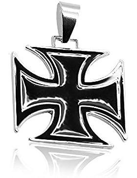 Ketten Anhänger Kruzifix Eisernes Kreuz Silbern Schwarz Königskette Panzerkette Halskette Herrenschmuck Herren...