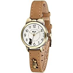 Vintage strap ladies watch/Quartz water resistant timepiece/Simple casual watches-A
