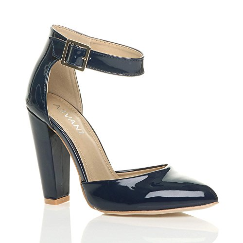 Damen Hochblockabsatz Mode Schnalle Spitz Pumps Knöchelriemen Schuhe Größe Dunkelblau Lack