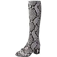 cinnamou Damen Plus Velvet Flat Stiefel, Snake Stitching halten warme Schuhe,Seitlicher Reißverschluss mit hohen Stiefeln