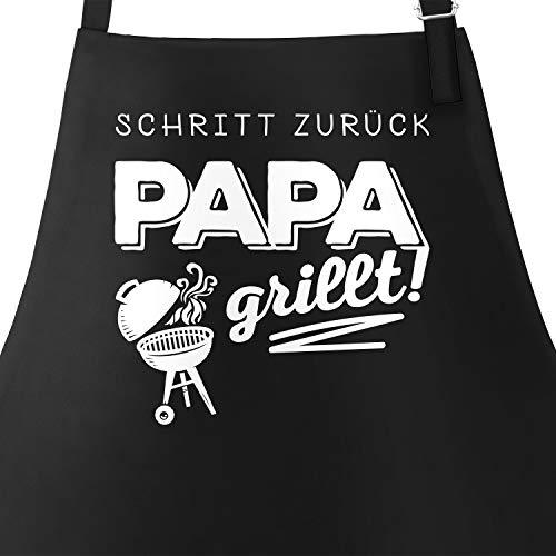 MoonWorks Grill-Schürze für Männer mit Spruch Schritt zurück Papa grillt Baumwoll-Schürze Küchenschürze schwarz Unisize