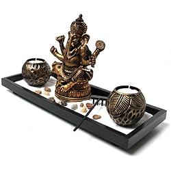 Yudu Zen YH071 - Jardín Zen (incluye figura de Ganesha, velas y piedras)