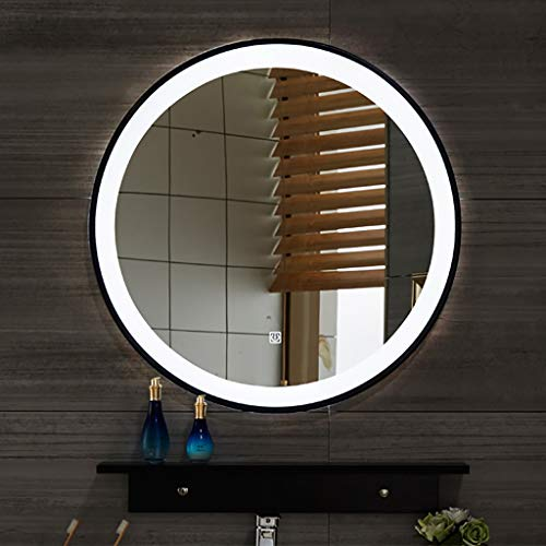 YiYi Bathroom mirror Black Border Runde LED beleuchtete Badezimmerspiegelleuchte, mit leichtem Berührungsschalter, weißes Licht,Durchmesser 50/60/70 / 80cm