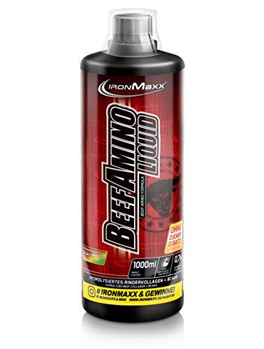 IronMaxx Beef Amino Liquid, Cola-Lime - Flüssige Aminosäuren ohne Zuckerzusatz - kalorienarm und reich an BCAA & Glutamin - 1 x 1 l -