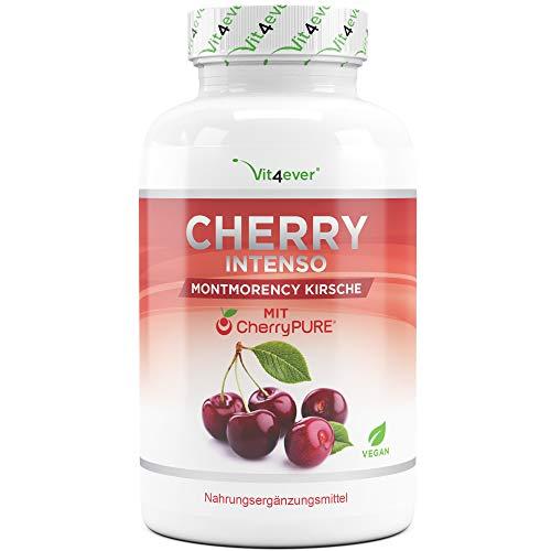 Vit4ever® Cherry Intenso - 100 Kapseln mit 550 mg Extrakt - Premium: CherryPure® - Montmorency Sauerkirsche maximale Konzentration 50:1 - Vegan - Hochdosiert - Laborgeprüft