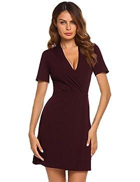 Meaneor Damen Vorne Schlitz Tiefer V-Ausschnitt Wickeloptik Businesskleid Kurzarm Mini Kleider Einfarbig Cocktailkleid