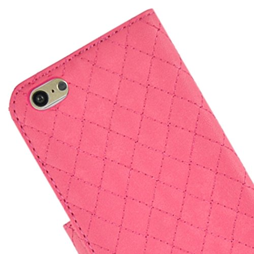Phone case & Hülle Für iPhone 6 Plus / 6S Plus, Plaid Stitching Line Horizontale Flip PU Ledertasche mit Card Slots & Halter ( Color : Magenta ) Magenta