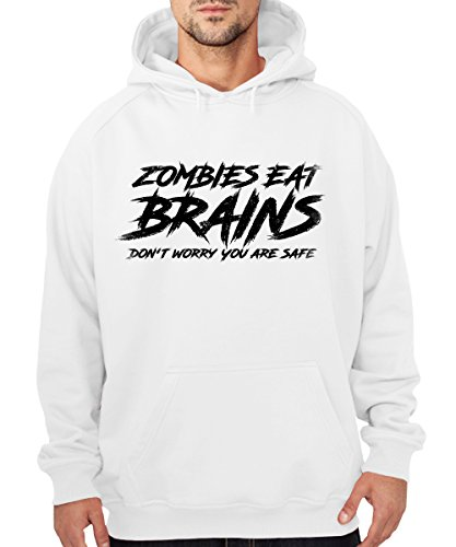 -- Zombies Eat Brains Don't Worry you are safe -- Boys Kapuzenpullover Weiss, Größe XXL