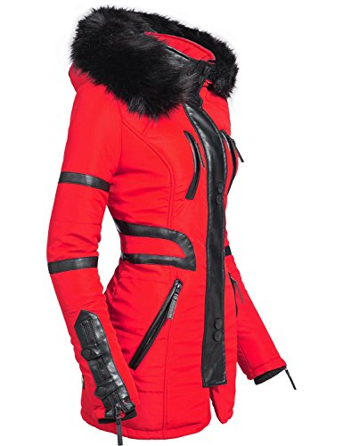 Navahoo Damen Mantel Winterjacke Kurzmantel Moon Rot Gr. XL