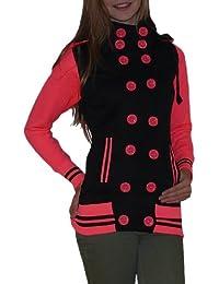 S&LU tolle Damen Long-Sweatjacke mit abnehmbarer Kapuze in leuchtenden Farben Größe S bis XL