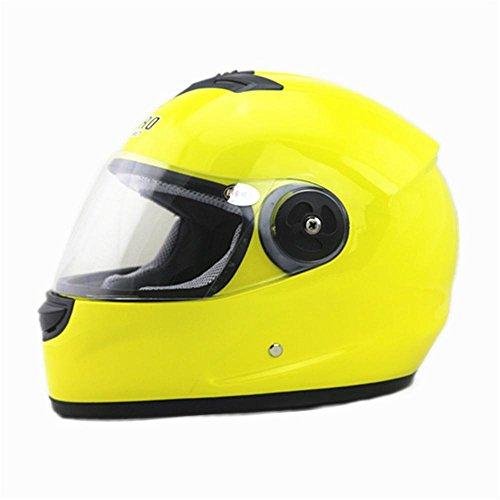 Protezione TCFXHZXC Casco Anti-Fog Casco Moto Casco Integrale Casco da Auto Elettrica Uomo Casco Modelli Femminili (Color : Yellow)
